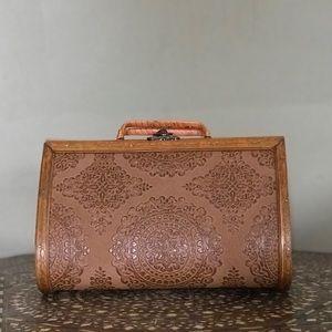 Vintage wooden embossed purse